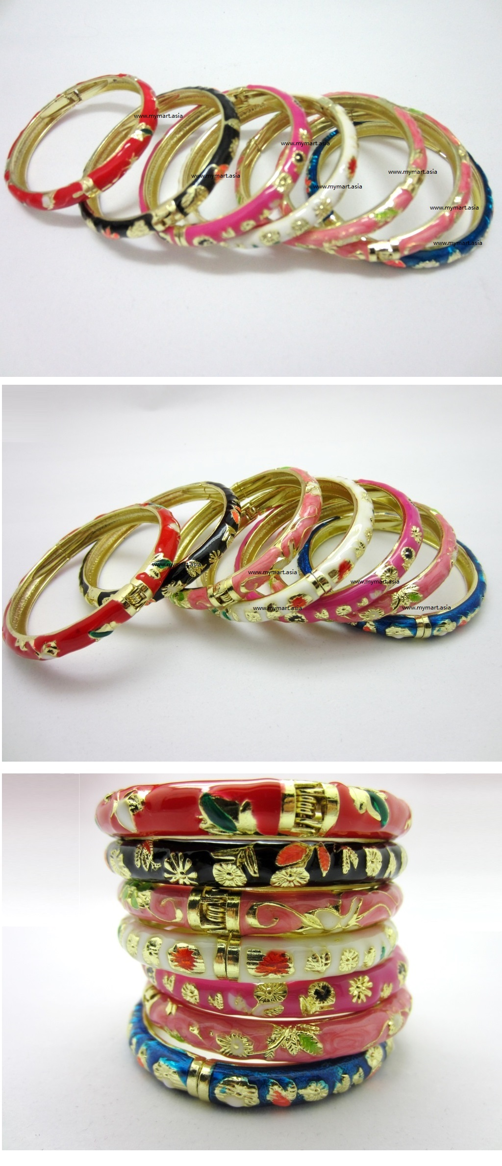Chinese Floral Oil Painting Fine Bracelet PINKGrass