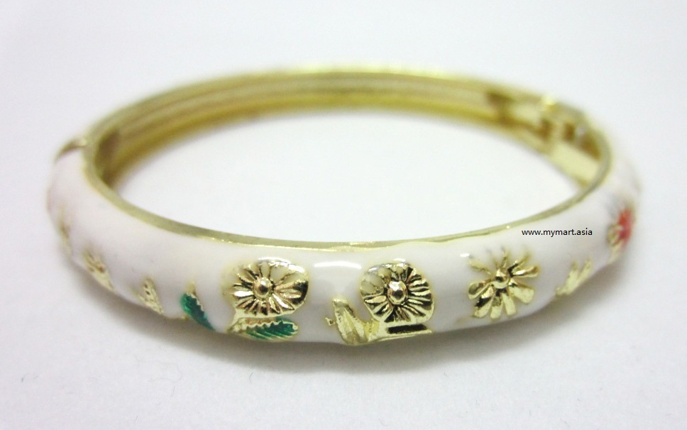 Chinese Floral Oil Painting Fine Bracelet WHITE