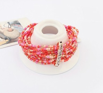 Bohemian Multi-Layered Beads Handmade Elastic Bracelet RED