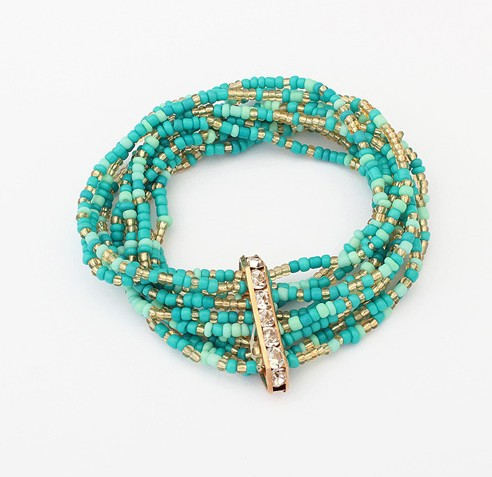 Bohemian Multi-Layered Beads Handmade Elastic Bracelet BLUE