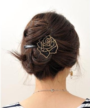 Korea Handmade Beaded Roses Hair Clip BLACK