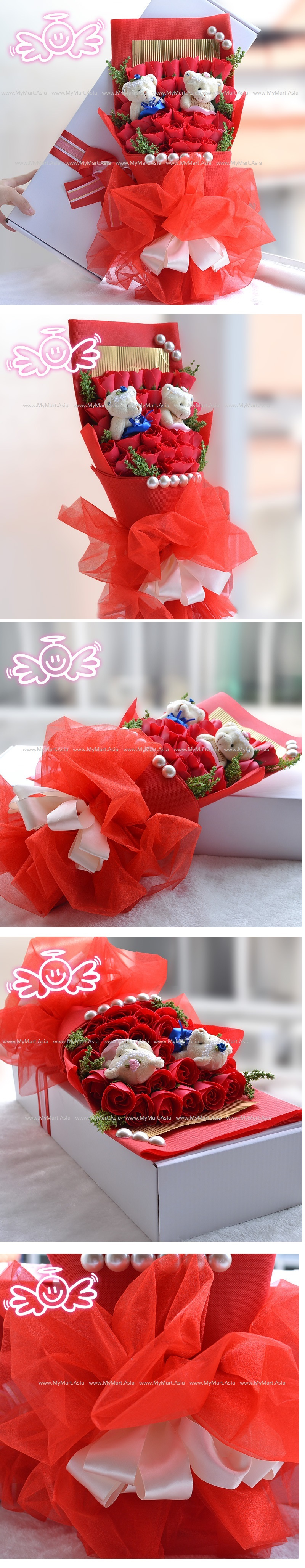Valentines Romantic Gift 33 Rose with 2 Teddy Bear Bouquet RED