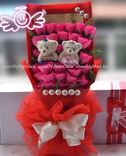 Valentines Romantic Gift 33 Rose with 2 Teddy Bear Bouquet ROSE