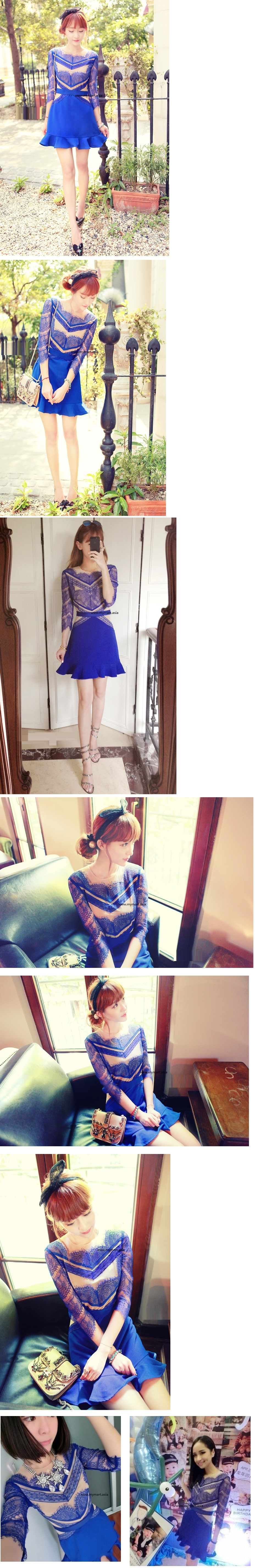 Elegant Blue Lotus Lace Dress