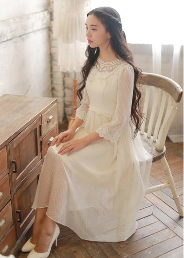 Sweet Autumn Dress Lace Sleeve Fairy Chiffon Ladies Princess Dress