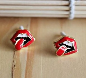 American Tongue Rock Flaming Lips Earrings and Ring Set