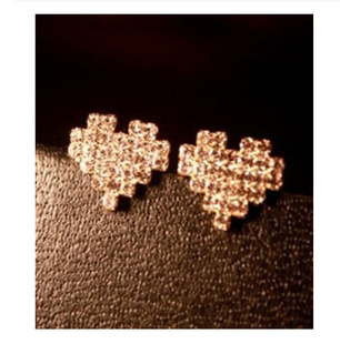 Korea Simple Elegant Diamond Heart Stud Earrings