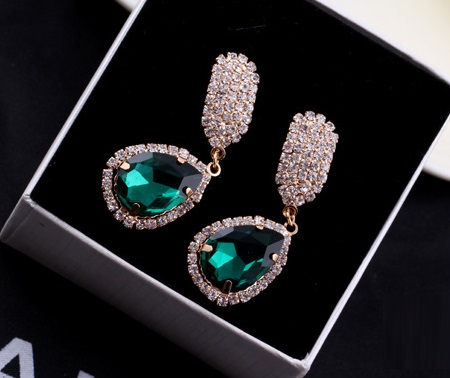 Korea Celebrity Earrings Diamond Earrings GREEN