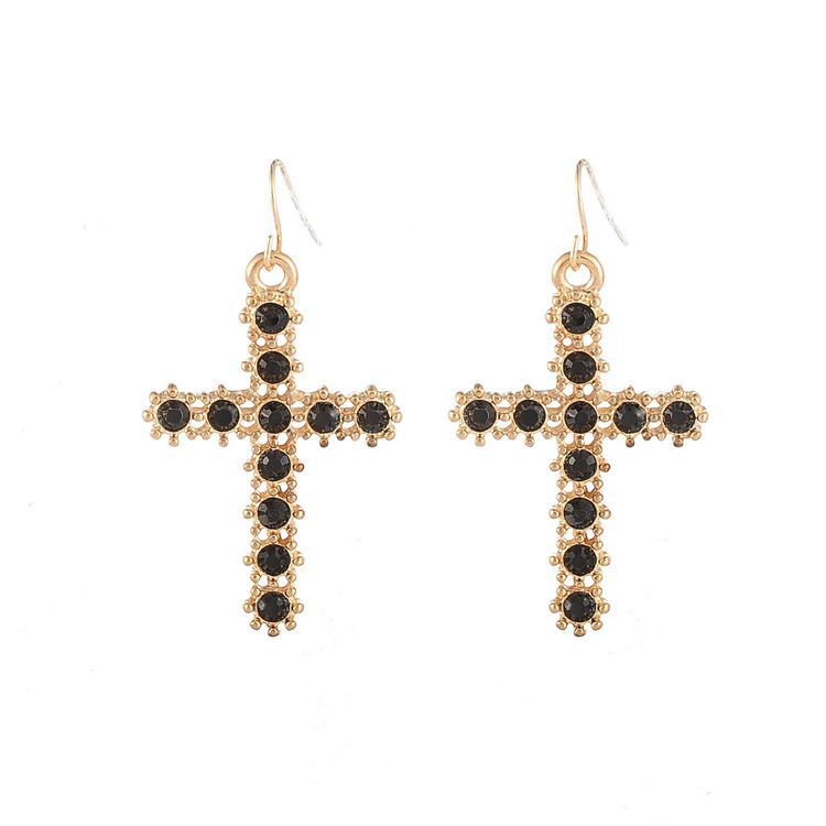 Korean Fashion Cross Diamond Earrings BLACK