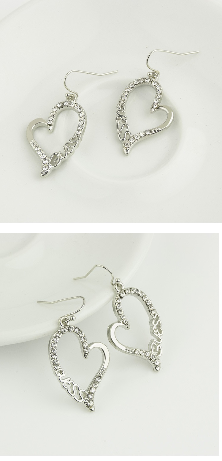 Diamond GUSES Letter Earrings SILVER
