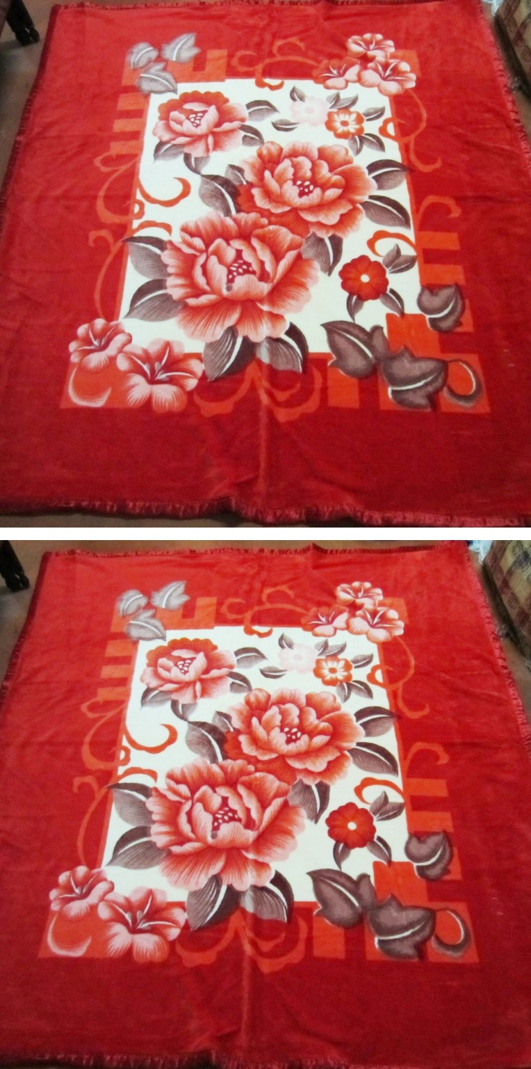 Floral Autumn Winter Top Quality Raschel Blanket Thicker Carpet Towel