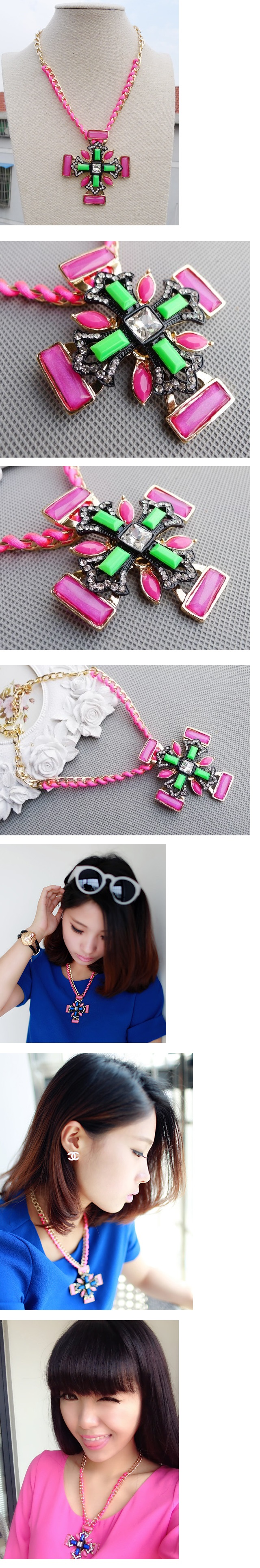 Fluorescent Pink Cross Necklace Clavicle Chain