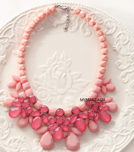 Korea Sweet Candy Gem Droplets Necklace RED