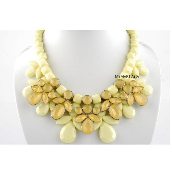 Korea Sweet Candy Gem Droplets Necklace YELLOW