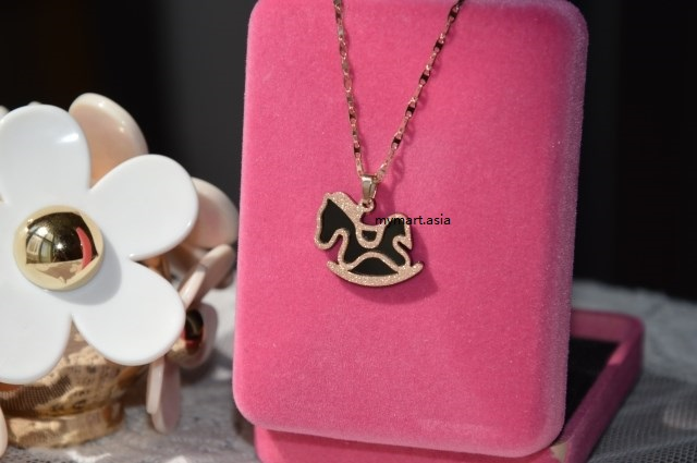 Limited Edition 14K Gold-Plated Black Lucky Horse Necklace