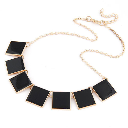 Korea Geometric Solid Enamel Necklace BLACK