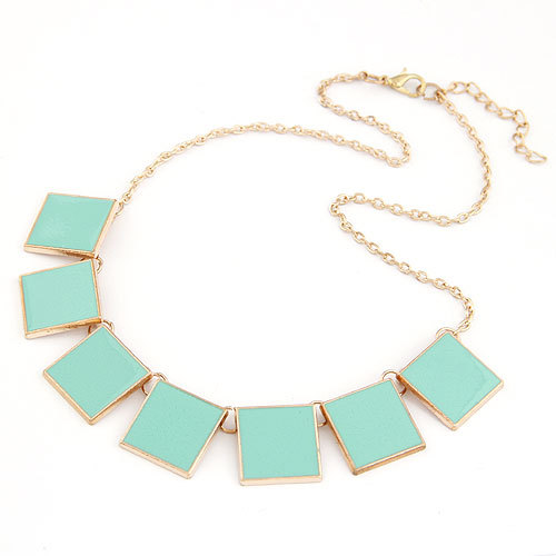 Korea Geometric Solid Enamel Necklace BLUEGREEN