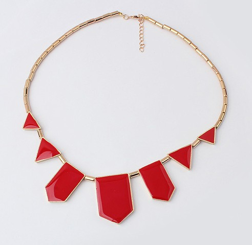 Korea Fashion Geometric Necklace RED
