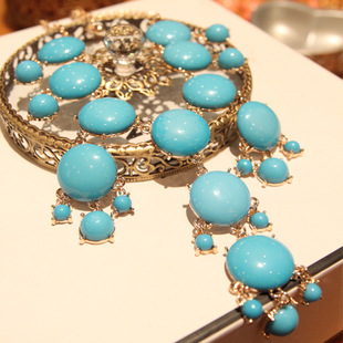 Bubble 18-karat Gold Plated Resin Necklace BLUE