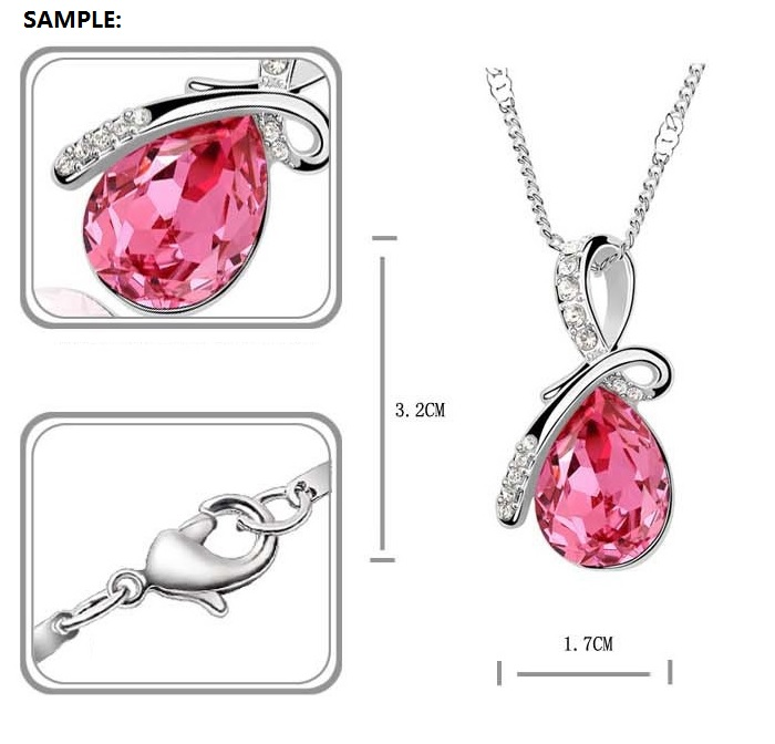 Eternal Love Crystal Droplet Necklace Pendant Set WHITE