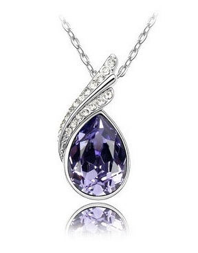 Austria Crystal Droplets Diamond Necklace PURPLE