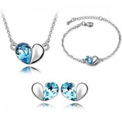 Crystal Love Necklace Earrings Bracelet Full Set