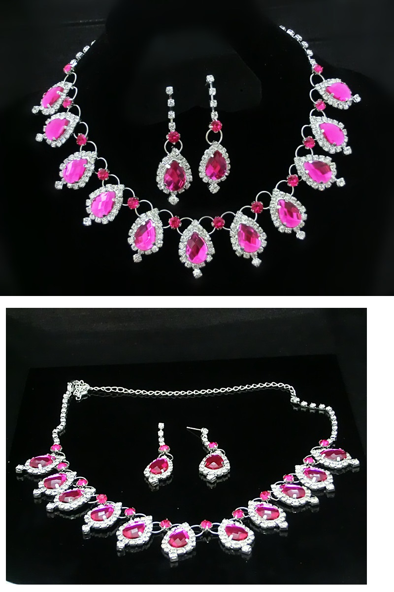 Classic Chloe Rose Red Diamond Bridal Jewel Set
