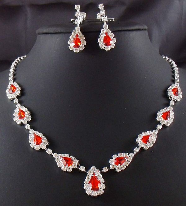 Wedding Bridal Set Necklace Earrings RED