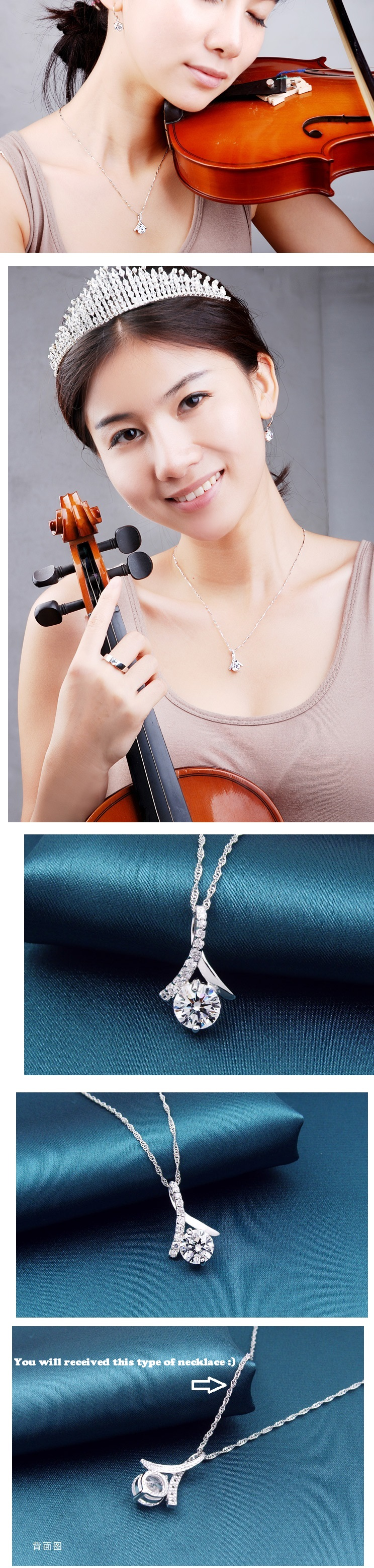 Noble Lady 925 Sterling Silver Pendant Set