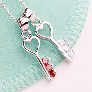 Diamond Key 925 Sterling Silver Jewelry Pendant FREE NECKLACE WHITE