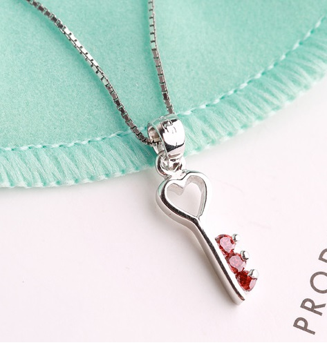Diamond Key 925 Sterling Silver Jewelry Pendant FREE NECKLACE RED