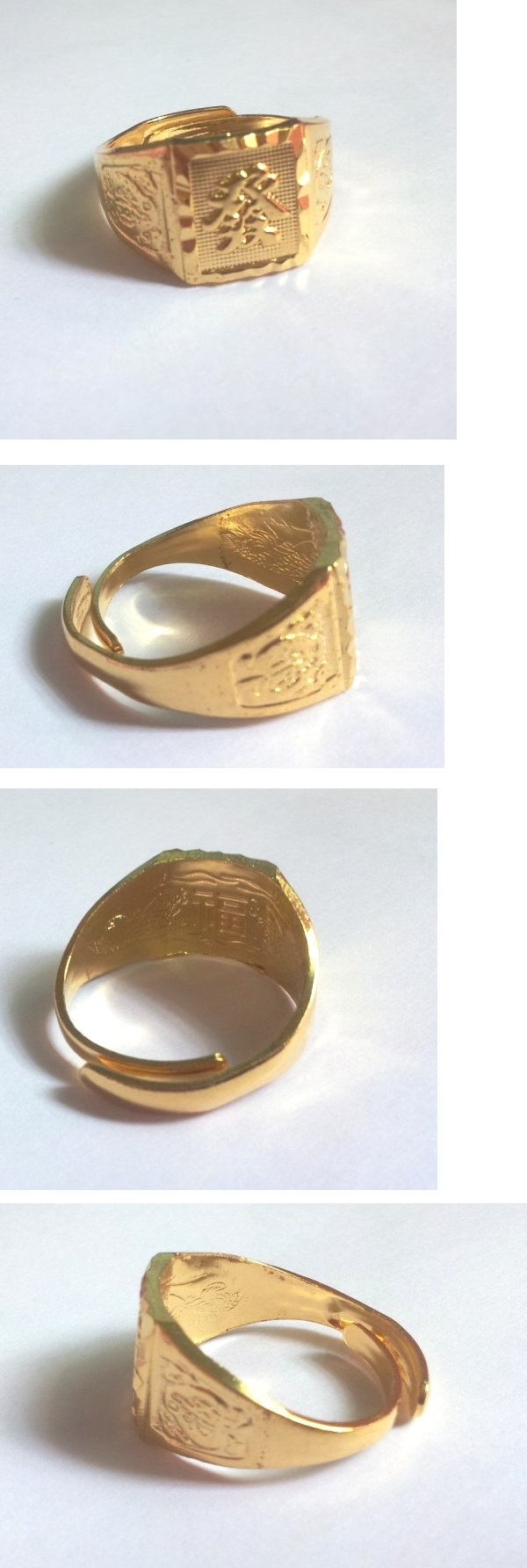 Lucky Gold Plated Copper Ring Men Gold Ring FA发
