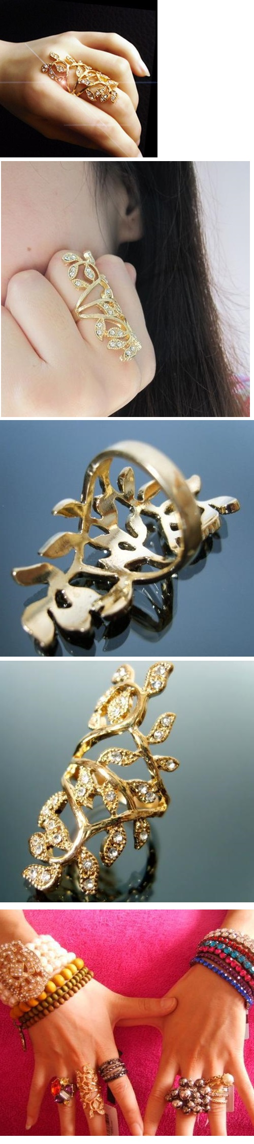 Luxury Retro Gilded Leaves Diamond Ring GOLD