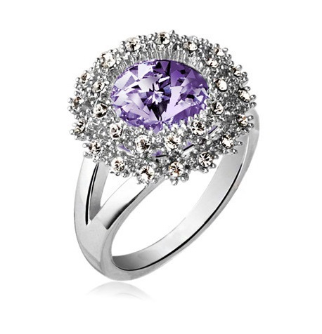 SALES Czech Crystal Round Diamond Ring SILVERPURPLE