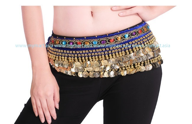 Belly Dance 248Gold Coins Waist Chain Waist Belt DARKBLUE