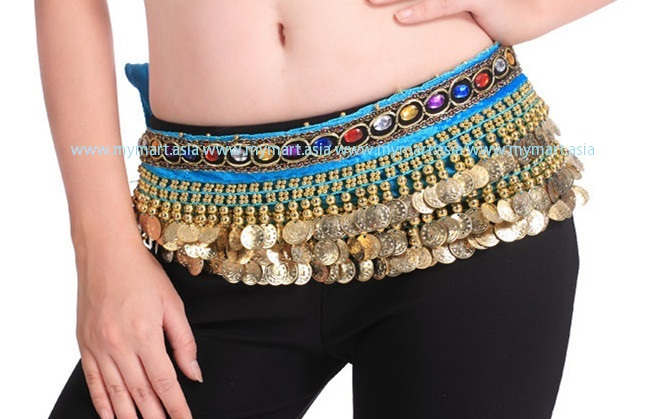 Belly Dance 248Gold Coins Waist Chain Waist Belt LAKEBLUE
