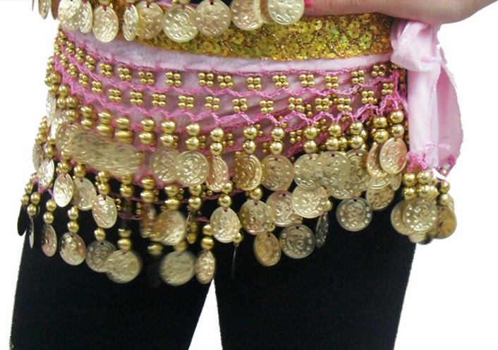 Kid Girl 128Gold Coins Kid Belly Dance Waist Chain PINK