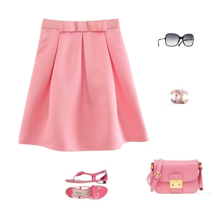 Prelove Korea Sweeet A-line Bow bottoming Skirt PINKROSE