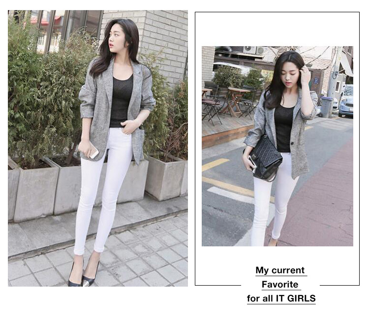 PRELOVE KOREA FASHION GREY CLASSIC JACKET