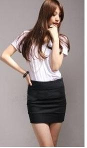 Clearance Korea candy color Slim Specials skirt BLACK