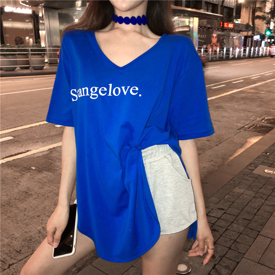 Summer loose Korean split shirt v-neck t-shirt