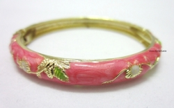 Chinese Floral Oil Painting Fine Bracelet PINK
