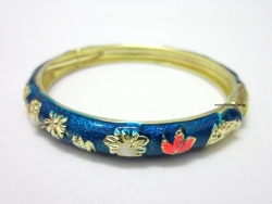SALES Chinese Floral Oil Painting Fine Bracelet BLUE