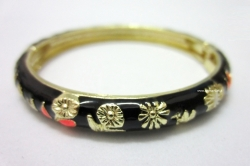 SALES Chinese Floral Oil Painting Fine Bracelet BLACK