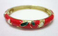 SALES Chinese Floral Oil Painting Fine Bracelet RED