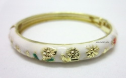 SALES Chinese Floral Oil Painting Fine Bracelet WHITE