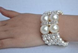 Pearl Diamond Wedding Nobble Bracelet