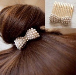 Korea Diamond Pearl Bow Hair Comb