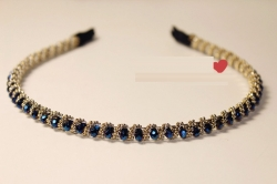 Korea Elegant Crystal Beads Hair Band BLUE