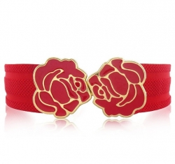 Korea Rose Buckle Belt RED